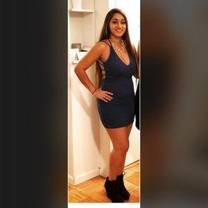 Blue backless dress